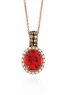 Le Vian 14k Strawberry Gold® Neon Tangerine Fire Opal® and Chocolate Diamond®and Vanilla Diamond® Pendant -