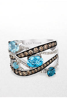 Le Vian Blue Topaz Ring with Chocolate Diamonds and Vanilla Diamonds