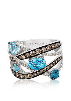 Le Vian Blue Topaz Ring with Chocolate Diamonds® and Vanilla Diamonds™ - Belk Exclusive