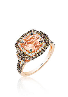 Le Vian Peach Morganite™, Vanilla Diamond®, and Chocolate Diamond® Ring in 14k Strawberry Gold®