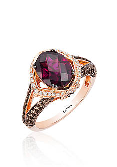 Le Vian Raspberry Rhodolite®, Vanilla Diamond®, and Chocolate Diamond® Ring in 14k Strawberry Gold®