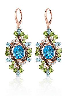 Le Vian Ocean Blue Topaz®, Green Apple Peridot®, and Chocolate Quartz™ Earrings in 10k Strawberry Gold™