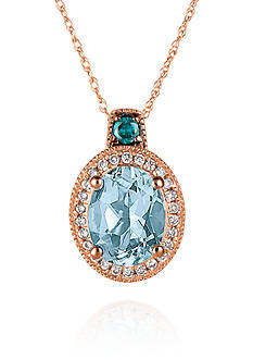 Le Vian Sea Blue Aquamarine™, Vanilla Diamond®, and Blueberry Diamond® Accent Pendant in 14k Strawberry Gold