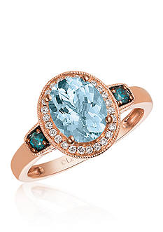 Le Vian Sea Blue Aquamarine™, Vanilla Diamond®, and Blueberry Diamond® Ring in 14k Strawberry Gold®