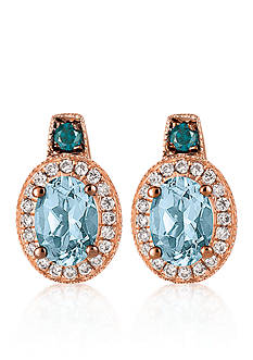 Le Vian Sea Blue Aquamarine™, Vanilla Diamond®, and Blueberry Diamond® Earrings in 14k Strawberry Gold®