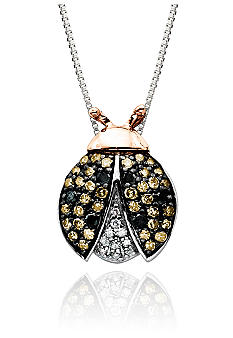 Belk & Co. Diamond Ladybug Pendant in Sterling Silver with 14k Gold