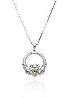 Belk & Co. Diamond Irish Claddagh Pendant in Sterling Silver with 14k Yellow Gold