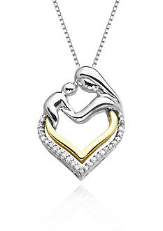 Belk & Co. Diamond Mother and Child Pendant in Sterling Silver with 14k Yellow Gold