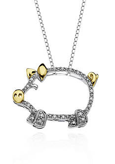 Belk & Co. Diamond Piglet Pendant in Sterling Silver with 14k Yellow Gold