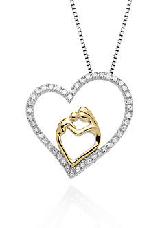 Belk & Co. Diamond Heart Pendant in Sterling Silver with 14k Yellow Gold