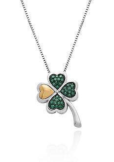 Belk & Co. Green Diamond Lucky Clover Pendant in Sterling Silver with 14k Yellow Gold