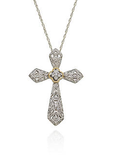 Belk & Co. Diamond Cross Pendant in Sterling Silver with 14k Yellow Gold