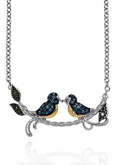 Belk & Co. Blue and Green Diamond Necklace in Sterling Silver
