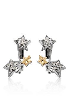 Belk & Co. Diamond Earrings in Sterling Silver and 14k Yellow Gold
