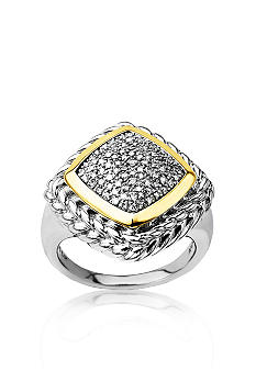 Belk & Co. Sterling Silver with 14k Gold Diamond Ring
