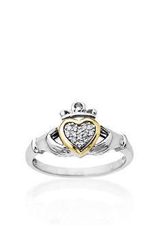 Belk & Co. Diamond Irish Claddagh Ring in Sterling Silver with 14k Yellow Gold