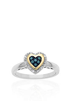 Belk & Co. Green and White Diamond Heart Ring in Sterling Silver with 14k Yellow Gold