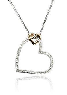 Belk & Co. 1/10 ct. t.w. Heart Pendant in Sterling Silver with 14k Gold