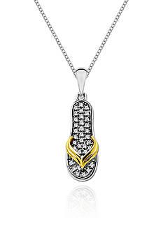 Belk & Co. Sterling Silver with 14k Diamond Flip Flop Pendant