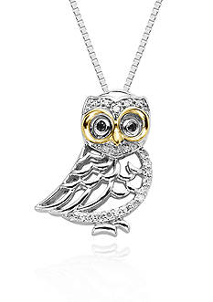 Belk & Co. Black and White Diamond Owl Pendant in Sterling Silver with 14k Yellow Gold