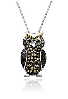 Belk & Co. Diamond Owl Pendant in Sterling Silver with 14k