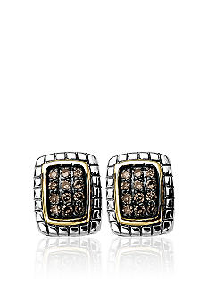 Belk & Co. Mocha Diamond Earrings in Sterling Silver with 14k Gold