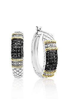 Belk & Co. Sterling Silver with 14k Black & White Diamond Hoop Earrings