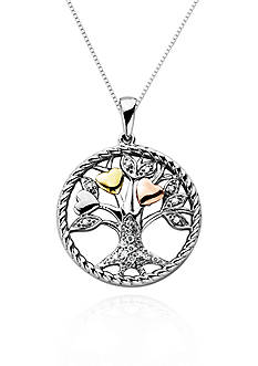 Belk & Co. Diamond Tree of Life Pendant in Sterling Silver with 14k Rose and Yellow Gold