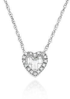 Belk & Co. Diamond Heart Pendant in 14k White Gold