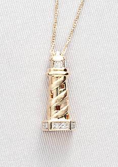 Belk & Co. Diamond Accent Lighthouse Pendant in 10k Gold