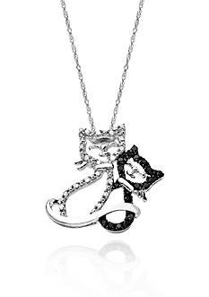 Belk & Co. Black and White Diamond Cat and Kitten Pendant in 10k White Gold