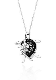 Belk & Co. Black and White Diamond Sea Turtle Pendant in 10k White Gold