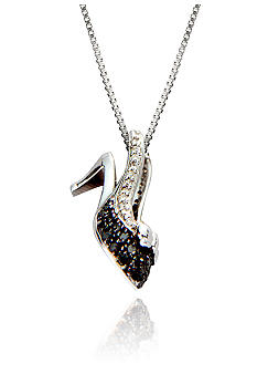 Belk & Co. Black and White Diamond Shoe Pendant in Sterling Silver