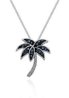 Belk & Co. Green and White Diamond Palm Tree Pendant in Sterling Silver
