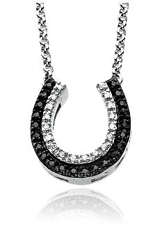 Belk & Co. Sterling Silver Black and White Diamond Horseshoe Necklace