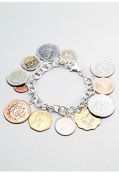 Belk & Co. Sterling Silver International Genuine Coin Bracelet