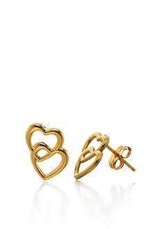 Belk & Co. 14k Yellow Gold Double Heart Stud Earrings