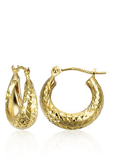 Belk & Co. 14K Huggie Diamond Cut Hoop Earrings