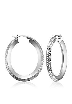 Belk & Co. Sterling Silver Diamond Cut Oval Hoop Earrings