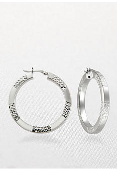 Belk & Co. Sterling Silver Alternating Diamond Cut Hoop Earrings