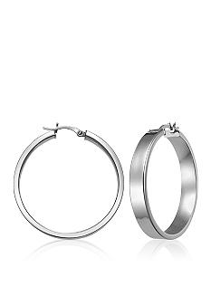 Belk & Co. Sterling Silver Rectangular Tube Hoop Earrings
