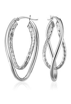 Belk & Co. Sterling Silver Interlocking Double Wave Hoop Earrings