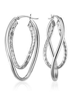 Belk & Co. Sterling Silver Interlocking Double Wave Hoop Earrings