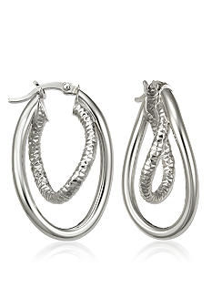 Belk & Co. Sterling Silver Interlocking Textured Double Wave Hoop