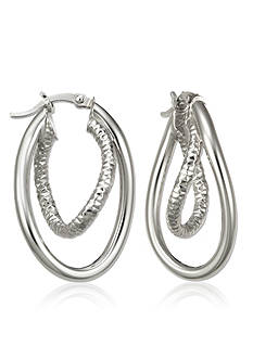 Belk & Co. Sterling Silver Interlocking Textured Double Wave Hoop Earrings