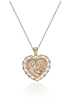 Belk & Co. Yellow Gold Engraved Mom Pendant