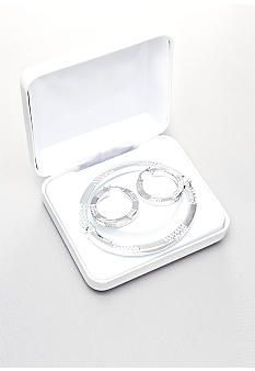Belk & Co. Sterling Silver Diamond Cut Bangle And Earring Set
