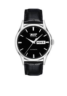 Tissot Visodate Men's Black Automatic Leather Strap Watch