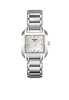 Tissot T-Wave Ladies White Mother Of Pearl & Diamond Quartz Steel Watch