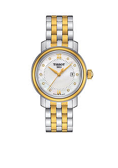 Women's Tissot Bridgeport Quartz Diamond Two-Tone Stainless Steel Bracelet Watch